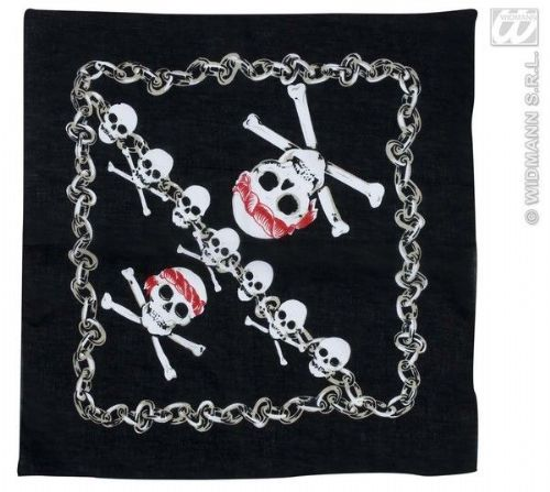 Bandana Black W/Pirate Skull 55X55 cm Hat Biker Pirate 90s Rock Fancy Dress